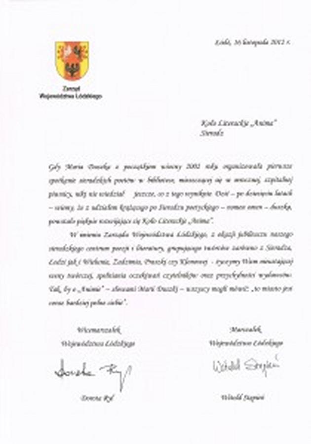 Pismo z gratulacjami i życzeniami od Zarządu Województwa Łódzkiego