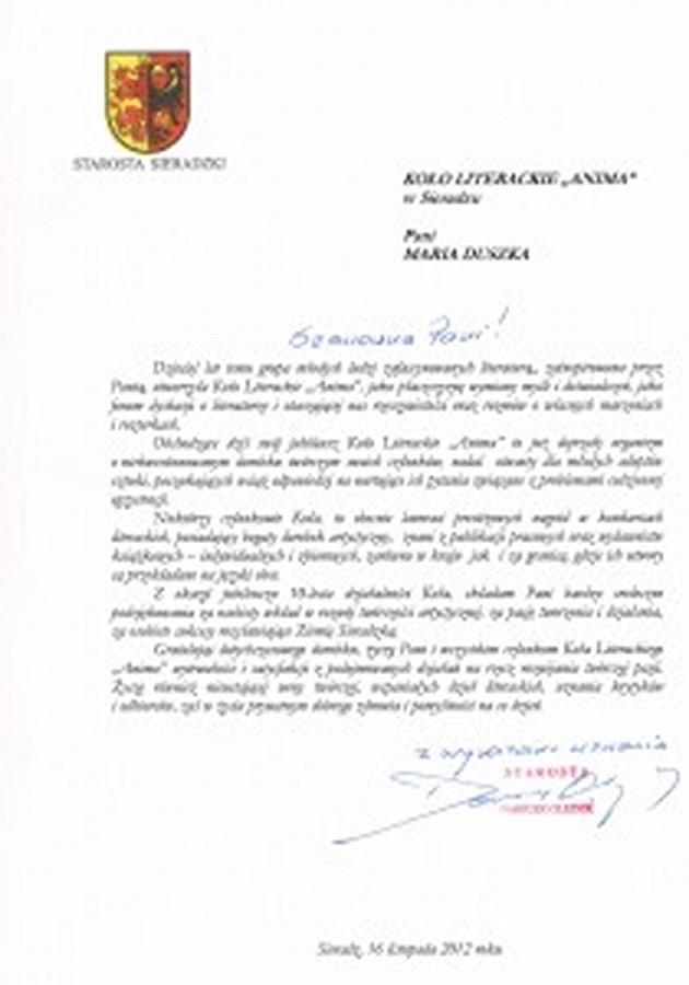 Pismo z gratulacjami i życzeniami od Starosty Sieradzkiego pana Dariusza Olejnika